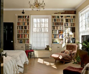 room, books, and bedroom image