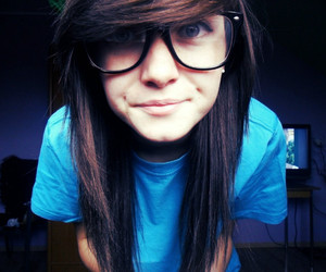 girl, hair, and glasses image