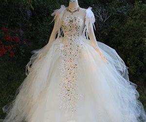 Swan, wedding dress, and firefly path image