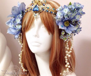 blue fantasy, firefly path, and head dress image