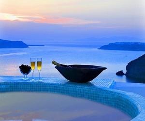 sea, santorini, and Greece image