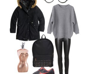 backpack, fashion, and fur coat image
