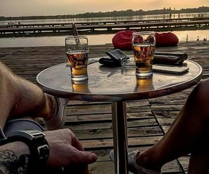 beer, couple, and romantic image