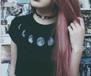 grunge, moon, and hair image