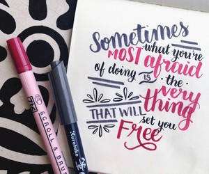 art, pink, and calligraphy image