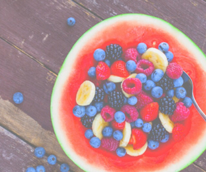 fruit, watermelon, and banana image