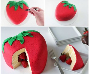 diy, cake, and strawberry image