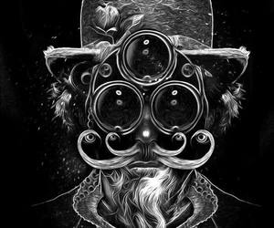 black and white, portrait, and steampunk image