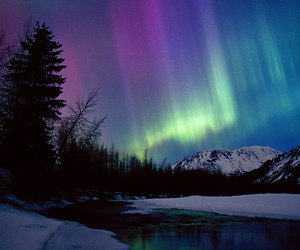 aurora, sky, and snow image