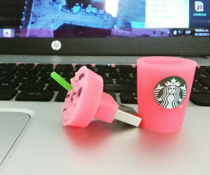 computer, pink, and starbucks image