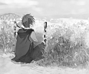anime, art, and black&white image