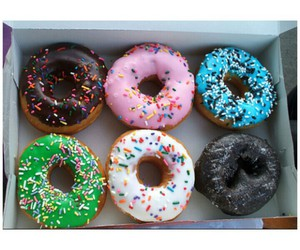 food, donuts, and blue image
