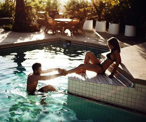 pool, summer, and love image