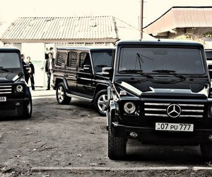 benz, gangsta, and black cars image
