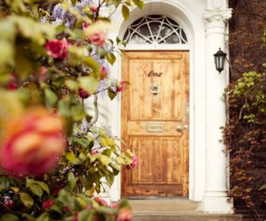 flowers, door, and home image