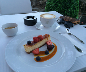 cheesecake, coffee, and delicious image