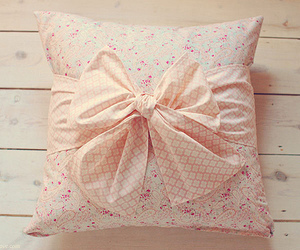 pillow, pink, and bow image