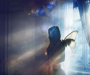 girl, butterfly, and light image