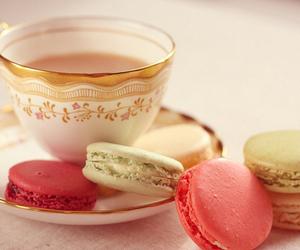 tea, macaroons, and food image