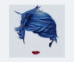 blue, short hair, and blue is the warmest color image