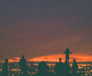 sunset, friends, and hipster image