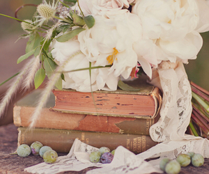 books, lace, and white flowers image