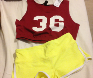 shorts, varsity, and crop top image