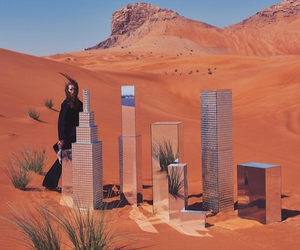 buildings, desert, and girl image
