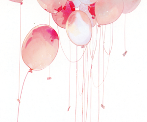 pink, balloons, and anime image