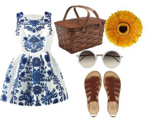outfit, picnic, and Polyvore image