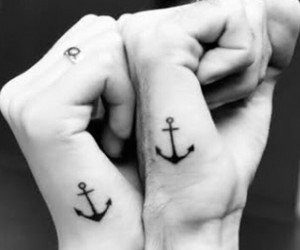 anchor, tatto, and black and white image