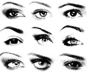 eyebrows, eyeliner, and eyes image