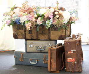 flowers, suitcases, and vintage image