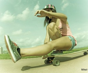 beach, girl, and surfer image
