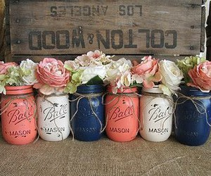flowers, pink, and mason jars image