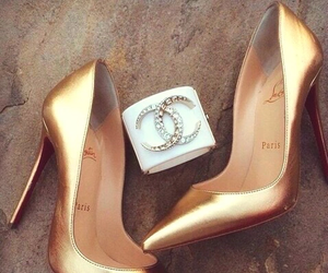 chanel, shoes, and gold image