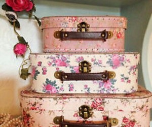 vintage, flowers, and suitcase image