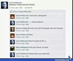 hp, voldemort, and facebook image