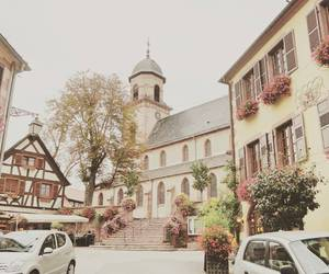 church, flowers, and france image
