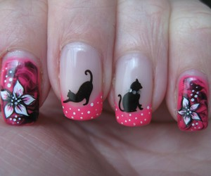 nails, cat, and flowers image