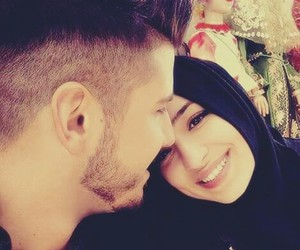love, couple, and hijab image