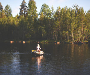 boat, sunset, and forest image