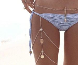 beach, gold, and jewelry image