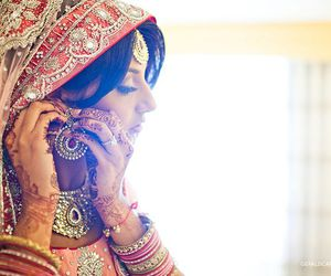 bride, wedding, and indian beauty image