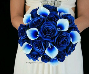 blue, bouquet, and wedding image