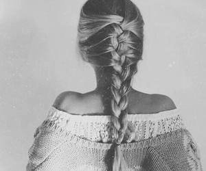 black and white, braid, and fashion image