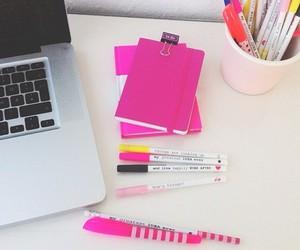 school, pink, and macbook image