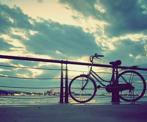 sky, bike, and bicycle image
