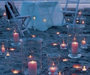 beach, candle, and romantic image