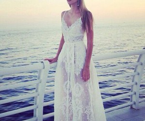 dress, sea, and white image